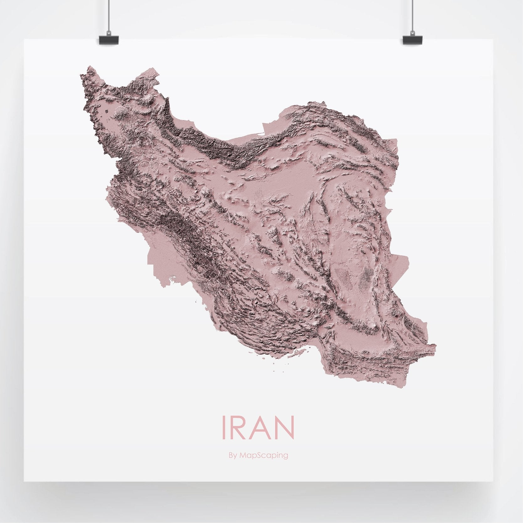 Iran 3D Rose -Topographic map art by MapScaping
