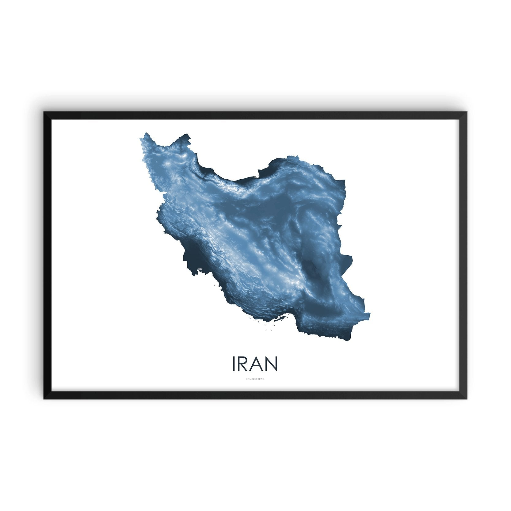 Iran Map Midnight Blue-Topographic Map