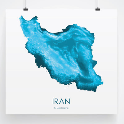 Iran Map Petroleum Blue-Topographic Map