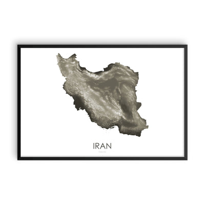 Iran Map Slate-Topographic Map