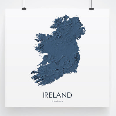 Ireland Map 3D Midnight Blue-Topographic Map