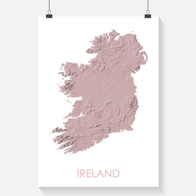 Ireland Map 3D Rose-Topographic Map