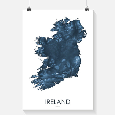 Ireland Map Midnight Blue-Topographic Map