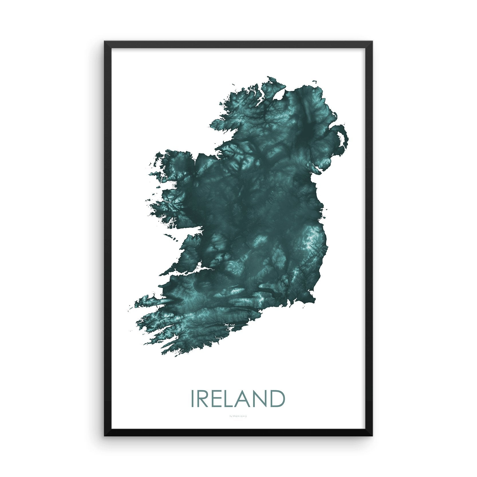Ireland Map Teal-Topographic Map