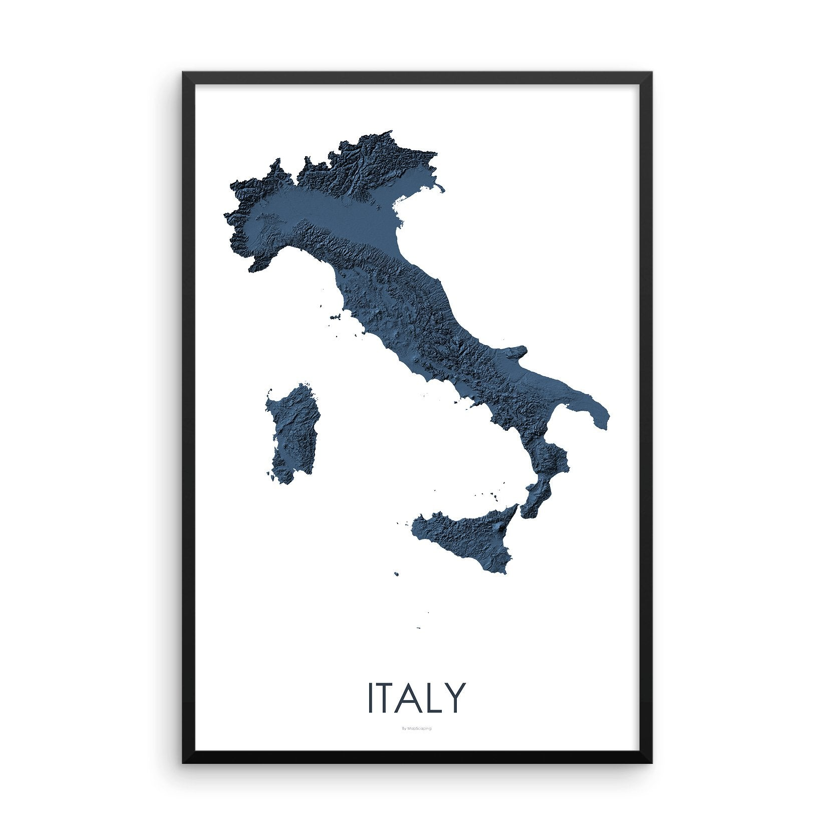 Italy Map 3D Midnight Blue-Topographic Map