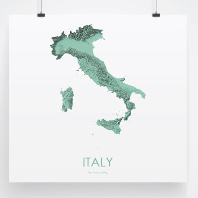 Italy Map 3D Mint-Topographic Map