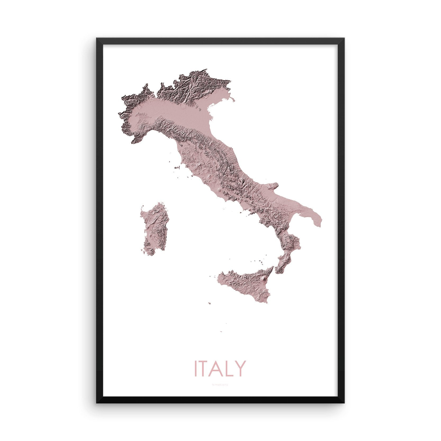 Italy Map 3D Rose-Topographic Map