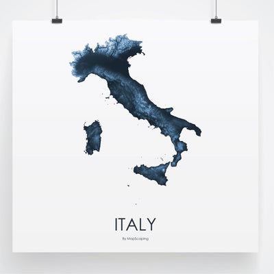 Italy Map Midnight Blue-Topographic Map