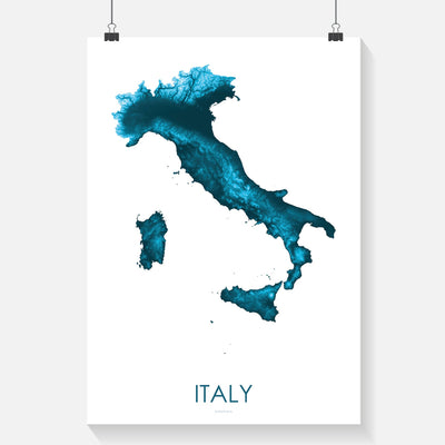 Italy Map Petroleum Blue-Topographic Map