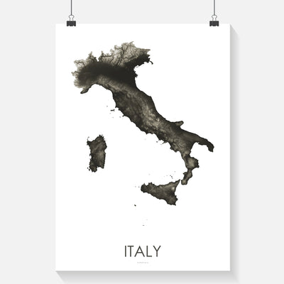 Italy Map Slate-Topographic Map