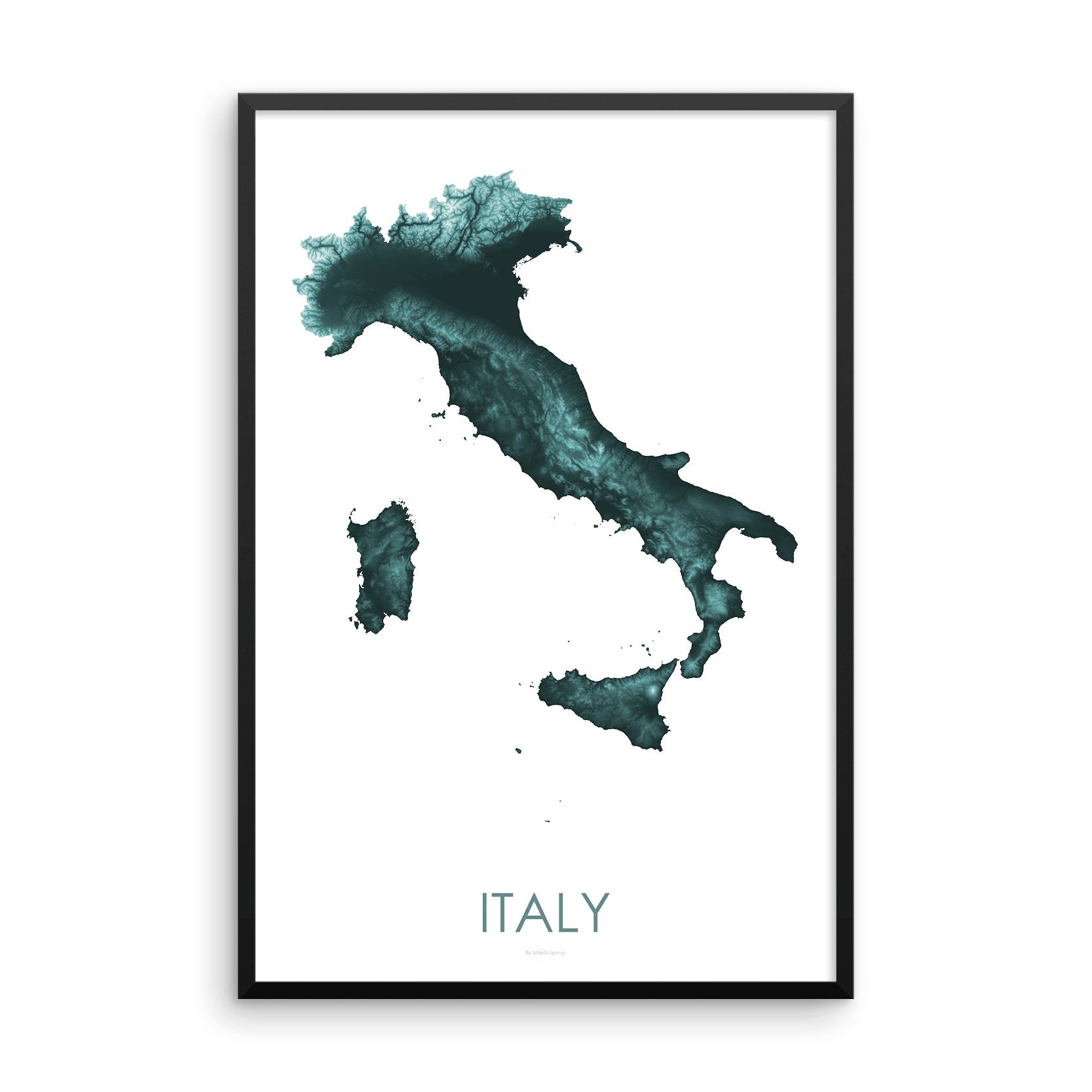 Italy Map Teal-Topographic Map
