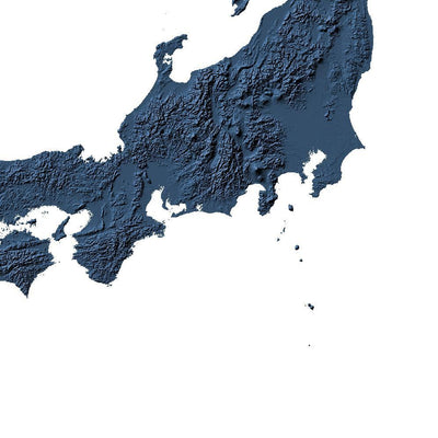 Japan Map 3D Midnight Blue-Topographic Map