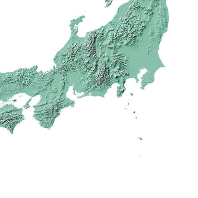 Japan Map 3D Mint-Topographic Map