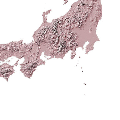 Japan Map 3D Rose-Topographic Map