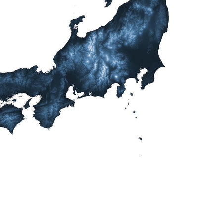 Japan Map Midnight Blue-Topographic Map