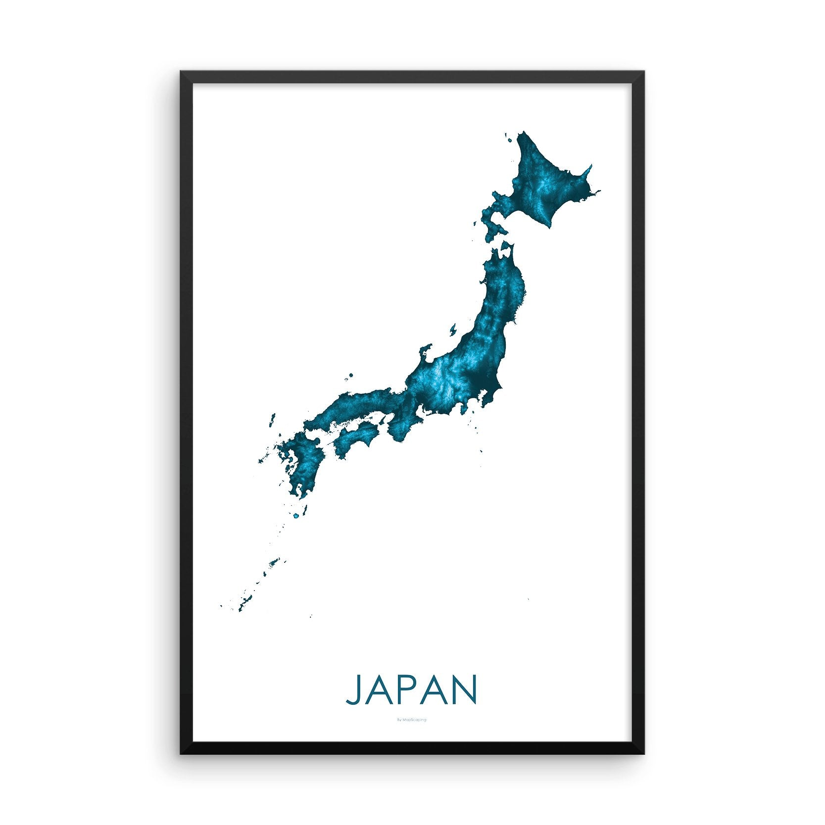 Japan Map Petroleum Blue-Topographic Map