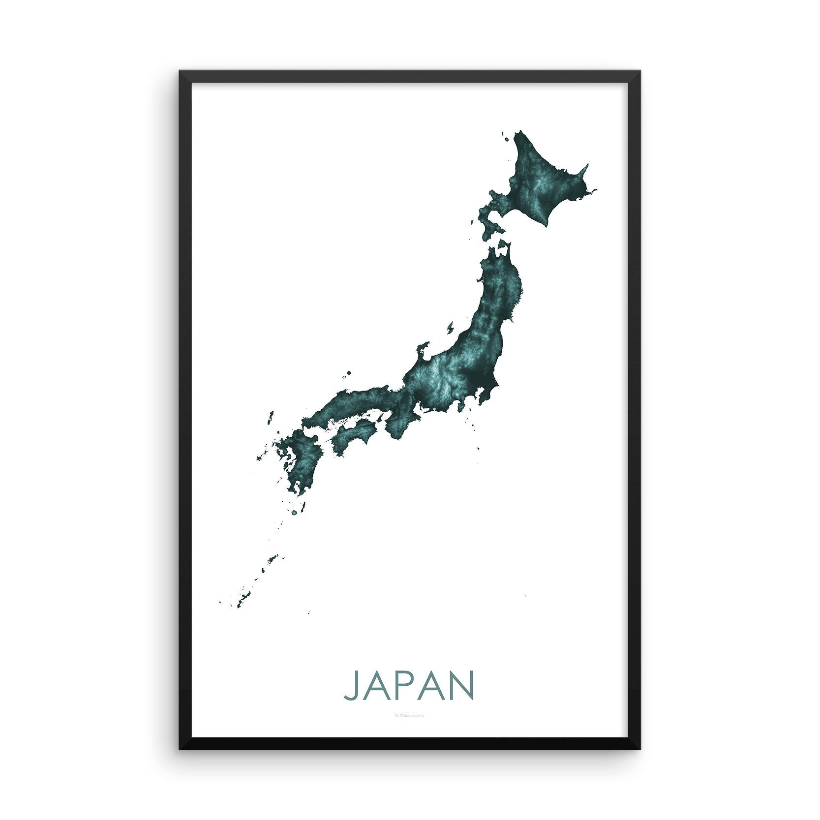 Japan Map Teal-Topographic Map