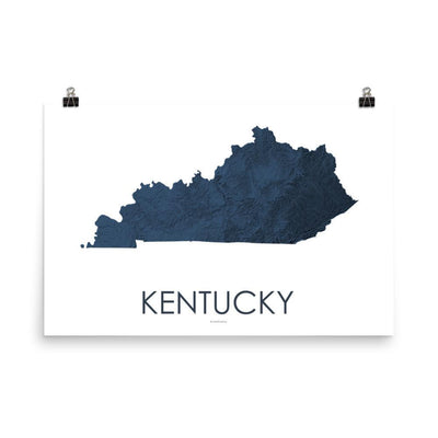 "Kentucky Poster 3D Midnight Blue-18""×24"" - 45.72cm x 60.96cm-topographic wall art map by MapScaping"