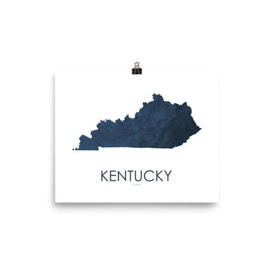 "Kentucky Poster 3D Midnight Blue-8""x10"" - 20.32cm x 25.4cm-topographic wall art map by MapScaping"