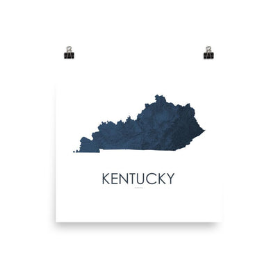 "Kentucky Poster 3D Midnight Blue-10""x10"" - 25.4cm x 25.4cm-topographic wall art map by MapScaping"