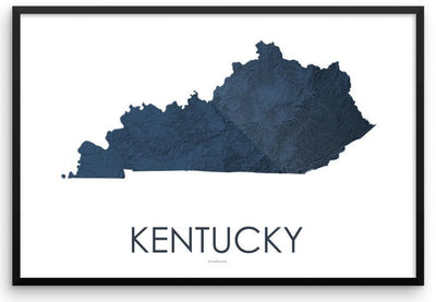 Kentucky Poster 3D Midnight Blue-topographic wall art map by MapScaping