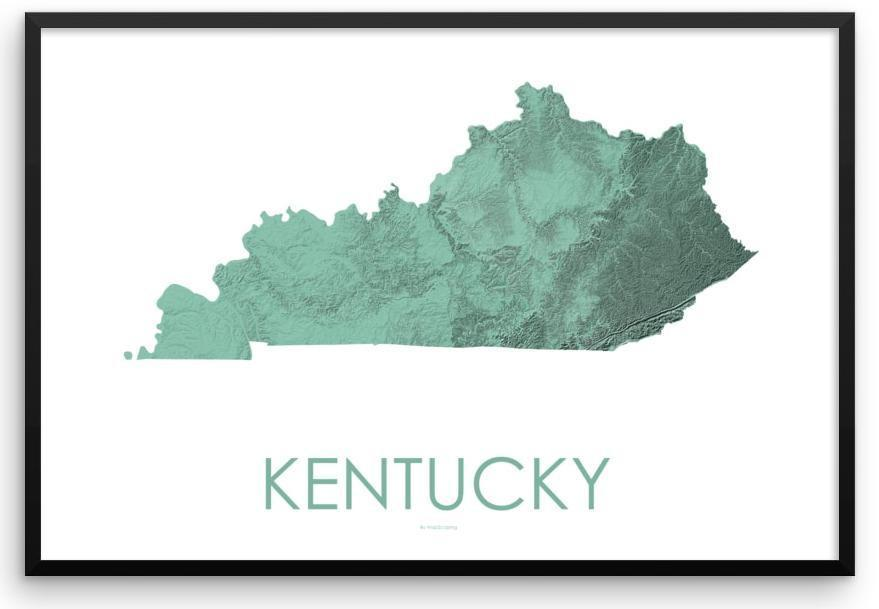 Kentucky Poster 3D Mint-topographic wall art map by MapScaping