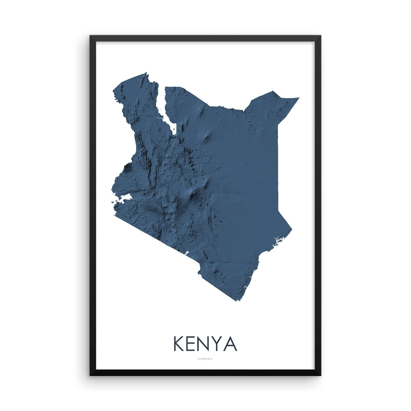 Kenya Map 3D Midnight Blue