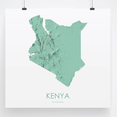 Kenya Map 3D Mint