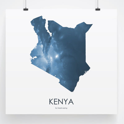 Kenya Map Midnight Blue