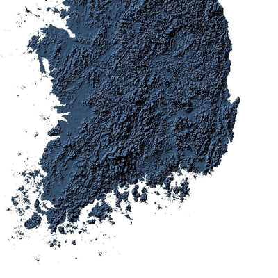 Korean Peninsula Map 3D Midnight Blue-Topographic Map