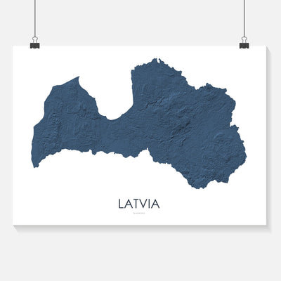 Latvia Map 3D Midnight Blue-Topographic Map