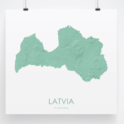 Latvia Map 3D Mint-Topographic Map