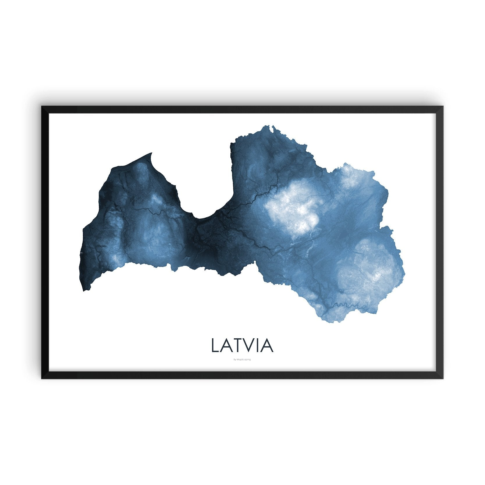 Latvia Map Midnight Blue-Topographic Map