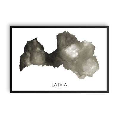 Latvia Map Slate-Topographic Map