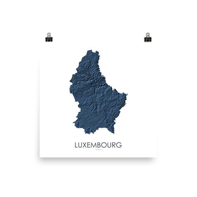 "Luxembourg Poster 3D Midnight Blue-10""x10"" - 25.4cm x 25.4cm-topographic wall art map by MapScaping"