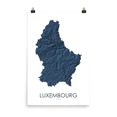 "Luxembourg Poster 3D Midnight Blue-18""×24"" - 45.72cm x 60.96cm-topographic wall art map by MapScaping"