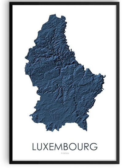 Luxembourg Poster 3D Midnight Blue-topographic wall art map by MapScaping