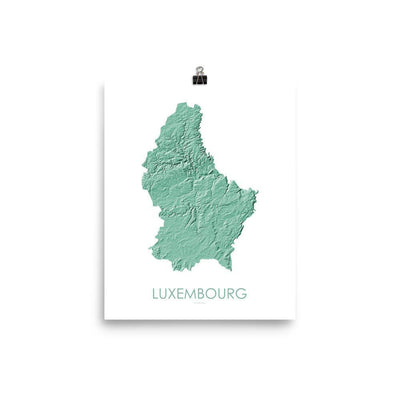 "Luxembourg Poster 3D Mint-8""x10"" - 20.32cm x 25.4cm-topographic wall art map by MapScaping"
