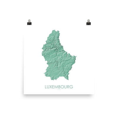 "Luxembourg Poster 3D Mint-10""x10"" - 25.4cm x 25.4cm-topographic wall art map by MapScaping"