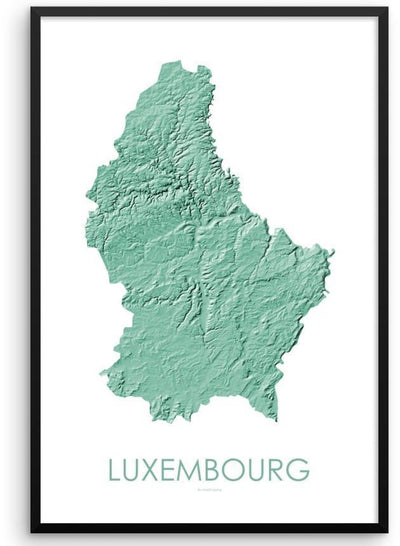 Luxembourg Poster 3D Mint-topographic wall art map by MapScaping