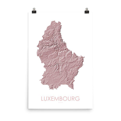 "Luxembourg Poster 3D Rose-18""×24"" - 45.72cm x 60.96cm-topographic wall art map by MapScaping"