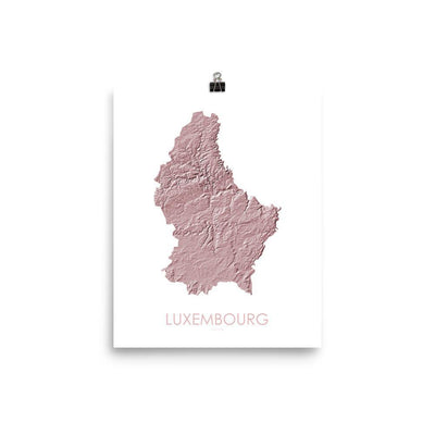 "Luxembourg Poster 3D Rose-8""x10"" - 20.32cm x 25.4cm-topographic wall art map by MapScaping"