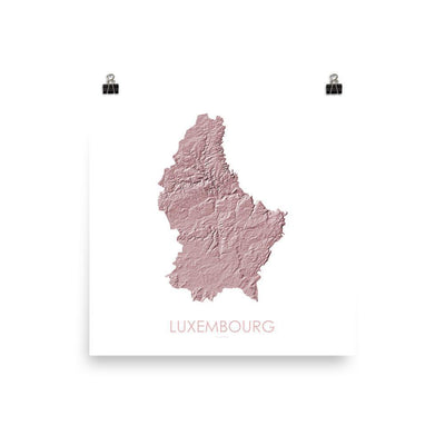 "Luxembourg Poster 3D Rose-10""x10"" - 25.4cm x 25.4cm-topographic wall art map by MapScaping"