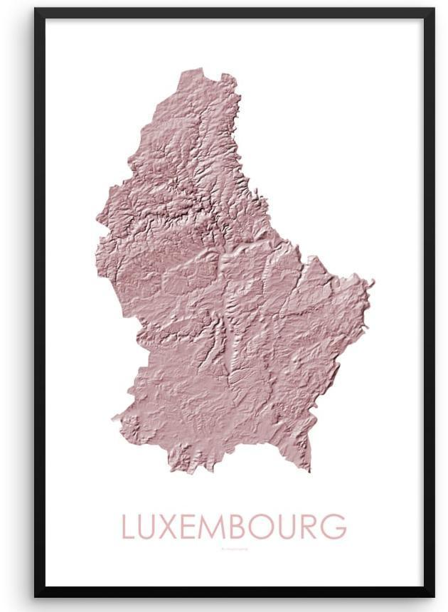 Luxembourg Poster 3D Rose-topographic wall art map by MapScaping