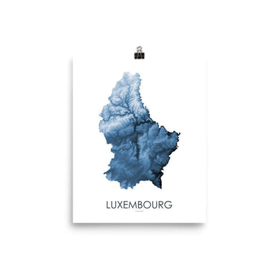 "Luxembourg Poster Midnight Blue-8""x10"" - 20.32cm x 25.4cm-topographic wall art map by MapScaping"