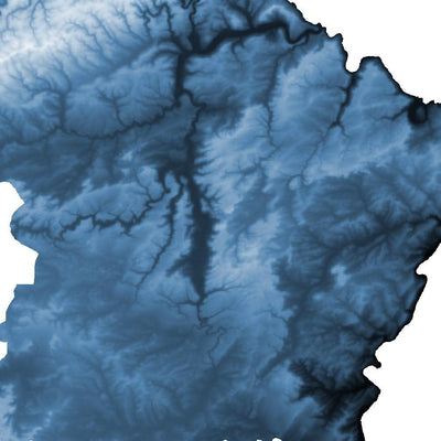 Luxembourg Map Midnight Blue-Topographic Map