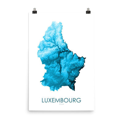 "Luxembourg Poster Petroleum Blue-18""×24"" - 45.72cm x 60.96cm-topographic wall art map by MapScaping"