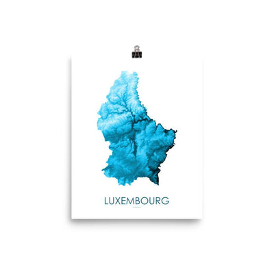 "Luxembourg Poster Petroleum Blue-8""x10"" - 20.32cm x 25.4cm-topographic wall art map by MapScaping"