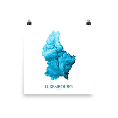 "Luxembourg Poster Petroleum Blue-10""x10"" - 25.4cm x 25.4cm-topographic wall art map by MapScaping"