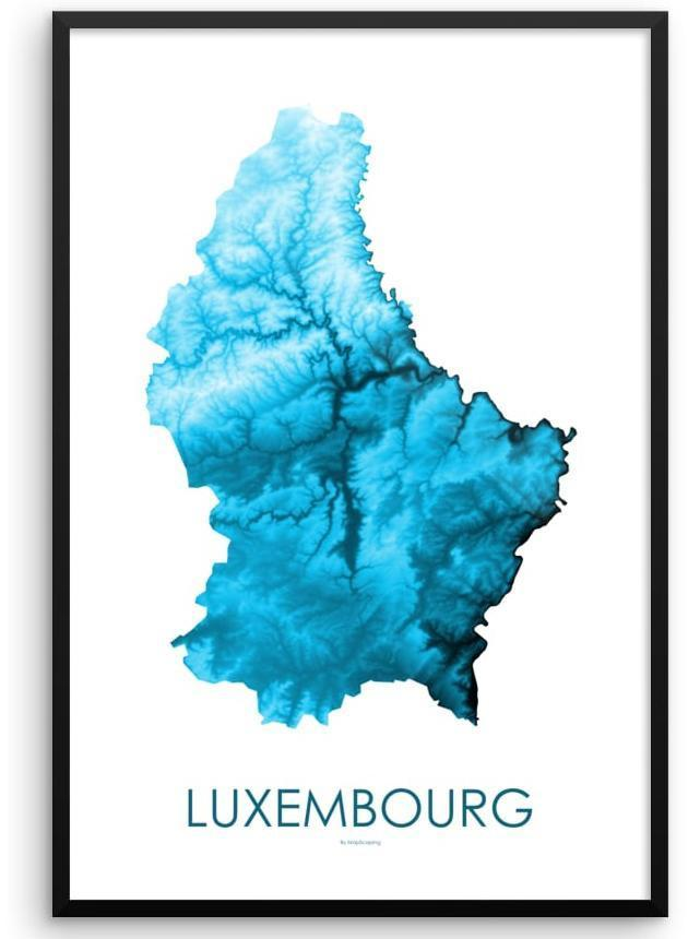 Luxembourg Poster Petroleum Blue-topographic wall art map by MapScaping
